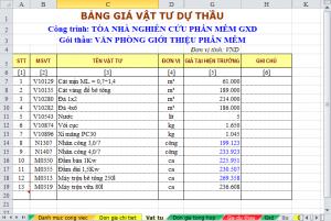 Hình 2 – Bảng giá vật tư sau khi nhập giá