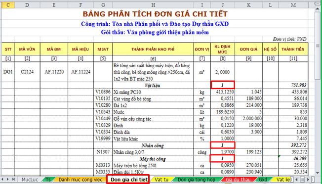Hình 7.3 – Các hệ số đã được kết nối sang Bảng đơn giá chi tiết