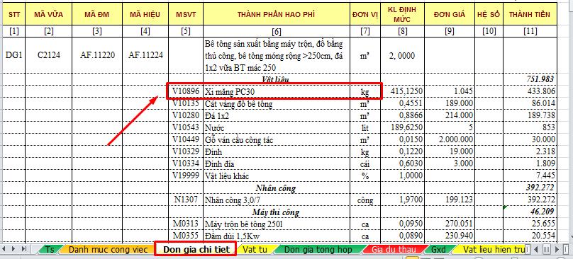 Hình 8.1 – Xi măng PC30 chưa sửa tên
