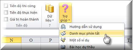 Hình 9.1 – Lệnh thực hiện gọi danh mục phím tắt của Excel