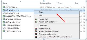 Hình 1.1 – Mở file DG trong Csv