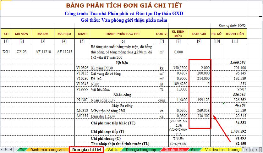 Hình 4.3c – Giá vật tư đã lưu đổ vào bảng đơn giá chi tiết
