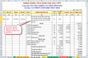 Hình 4 .1 – Tra mã và sửa nội dung công việc tại sheet Don gia chi tiet