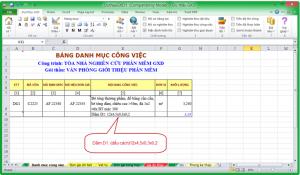 Tính toán khối lượng với Dự thầu GXD