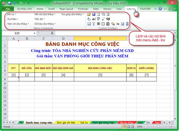 Hệ menu add-ins của phần mềm