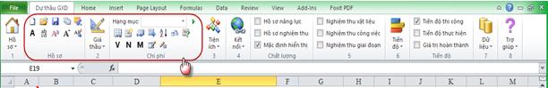 Thanh công cụ và menu của phần mềm dự thầu GXD