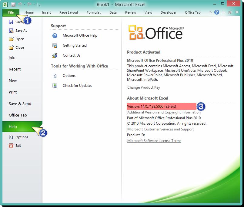 Hình 1. Phiên bản Microsoft Office 32-bit