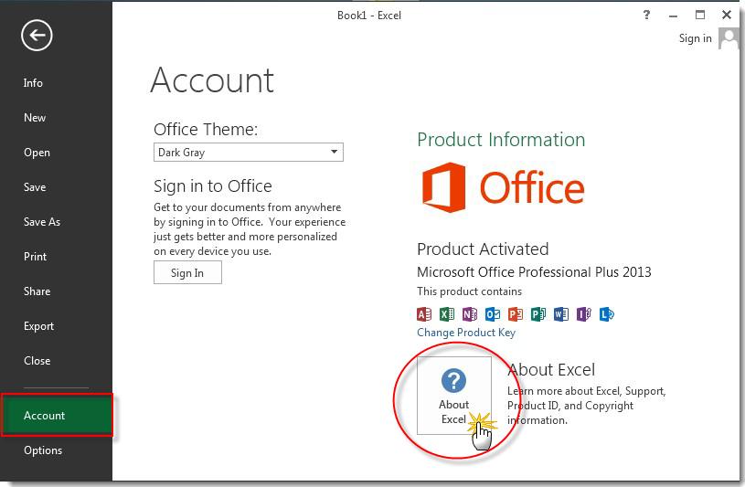 Hình 3. Chọn mục Account- About Excel