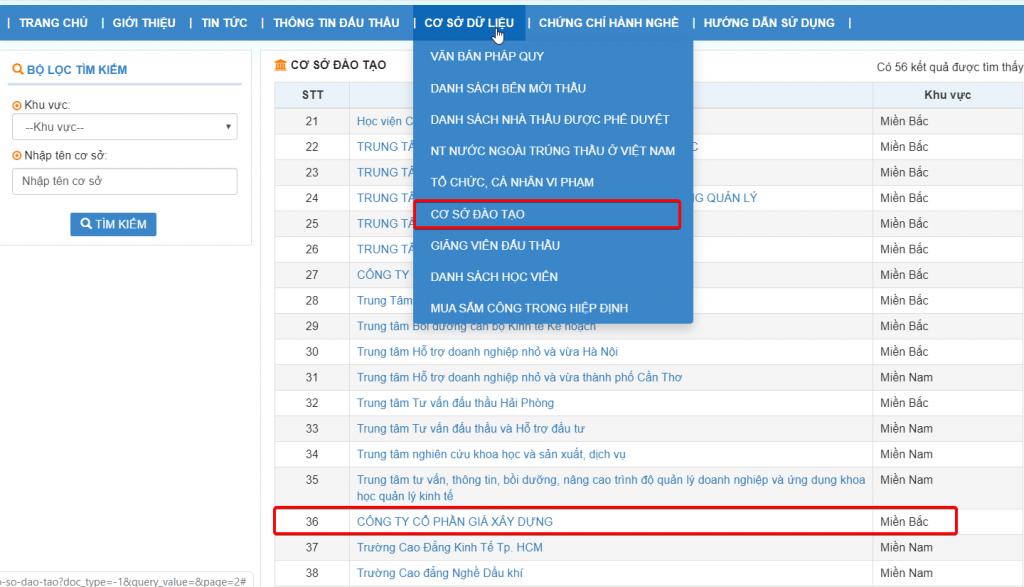 GXD trong cơ sở dữ liệu đào tạo đấu thầu của mạng đấu thầu quốc gia