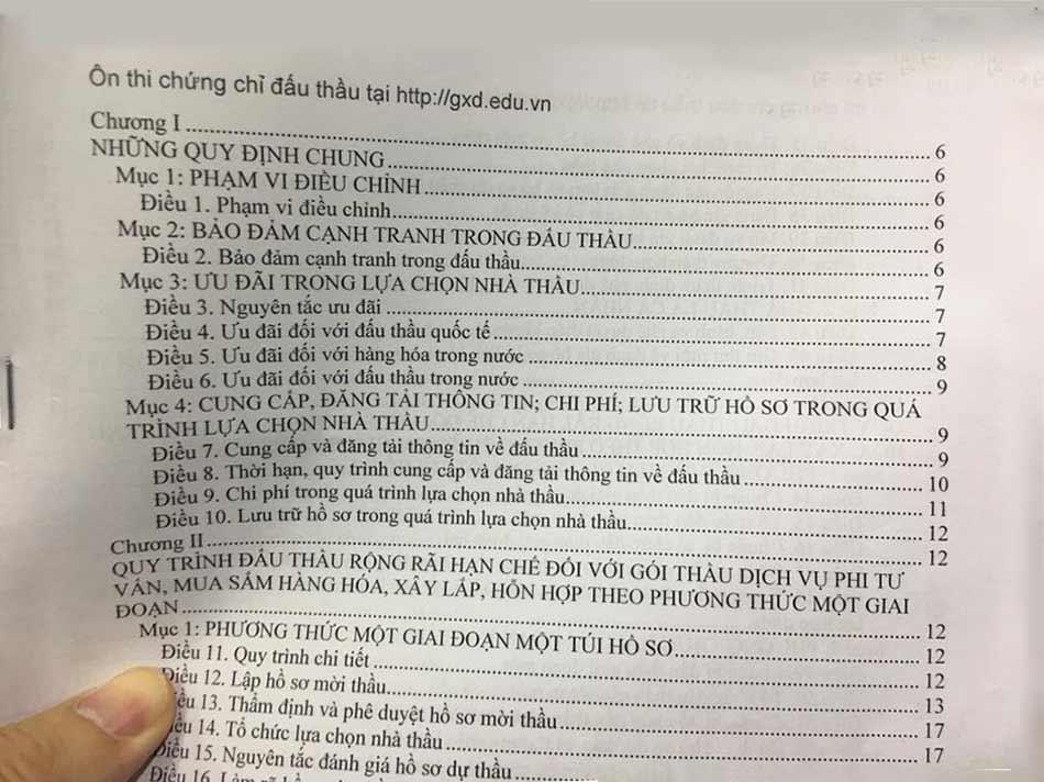 tài liệu ôn thi chứng chỉ hành nghề đấu thầu đánh mục lục