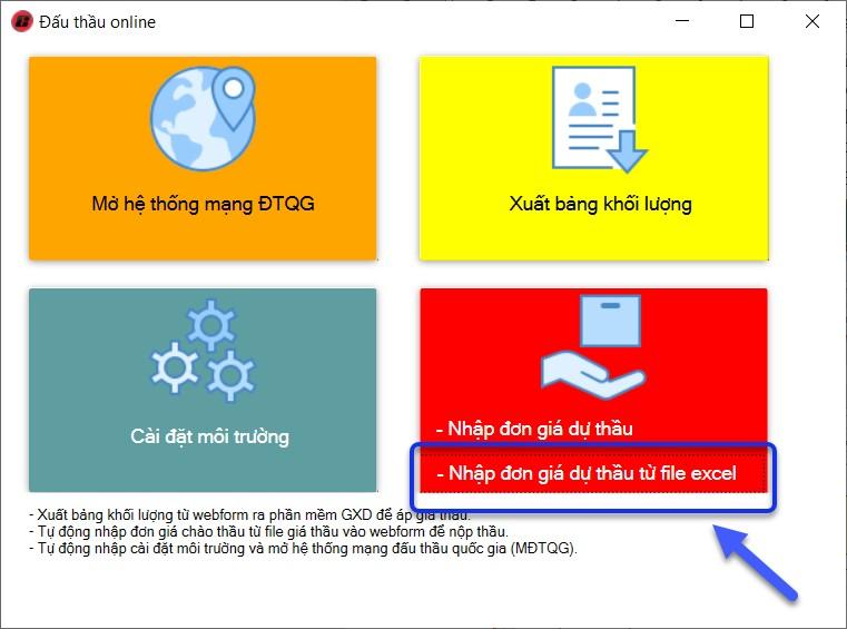 Tự động đưa giá thầu từ file Excel bất kỳ lên webform trang Đấu thầu qua mạng